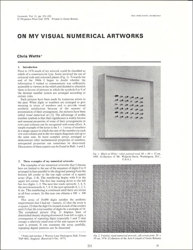 Leonardo, Vol 11. pp. 221-222 Pergamon Press Ltd. 1978 Click HERE for the PDF