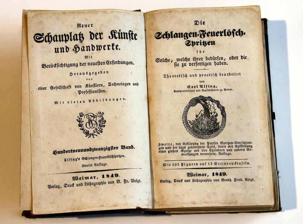 Carl Alfing: Die Schlangen-Feuerlösch-Spritzen, Weimar, 2. Auflage 1849