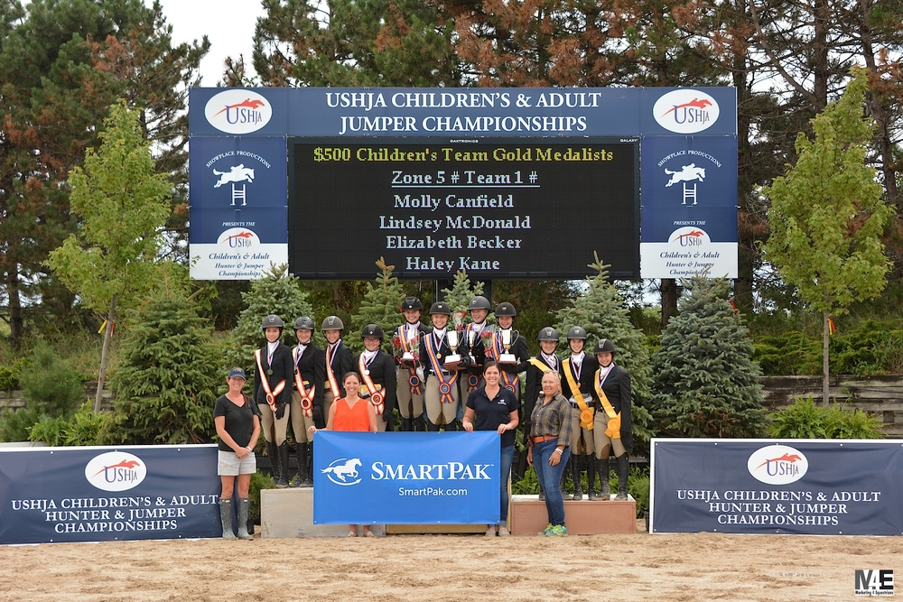 Zone 5 Team 1 takes the gold medal in the $3,500 USHJA Children's Hunter Team Championships presented by SmartPak, at Ledges Sporting Horses.