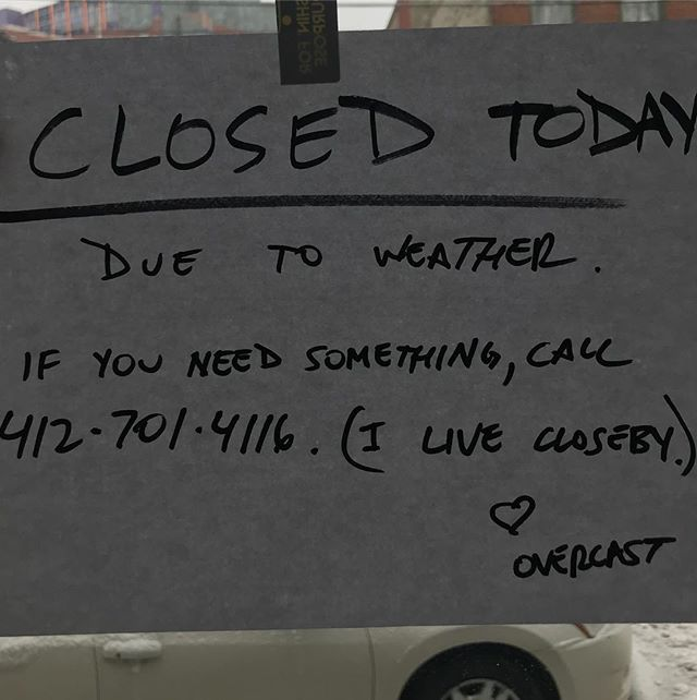 Closed today because of this miserable weather. #thiswintersucks