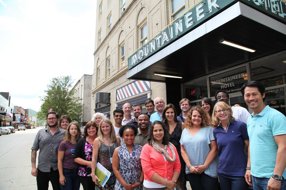 Our group in front of the historic Mountaineer Hotel