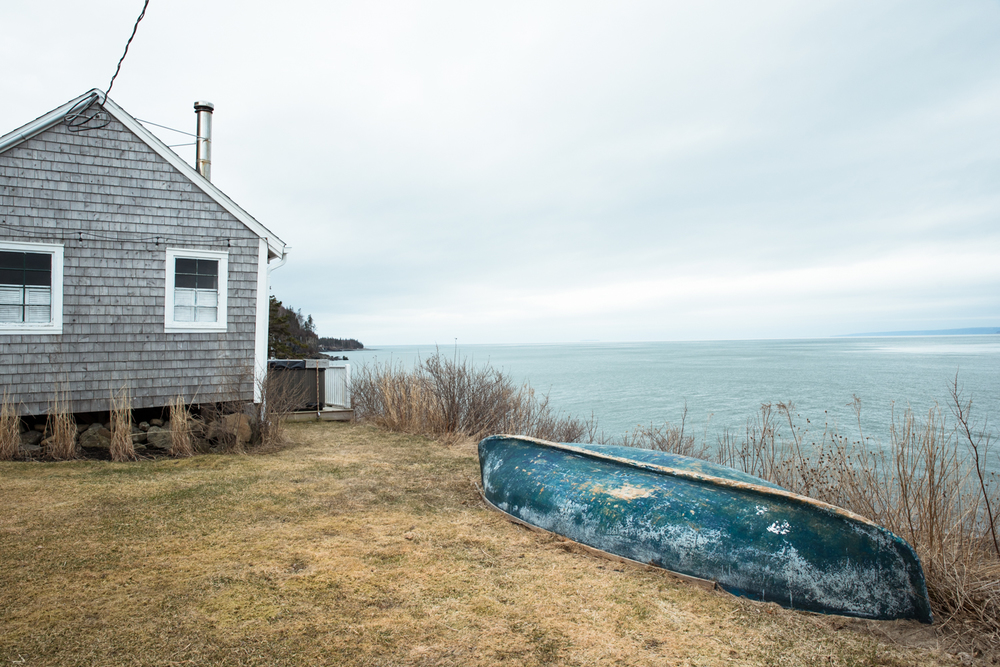 Fishing cottage on the Nova Scotia coast of the Bay of Fundy