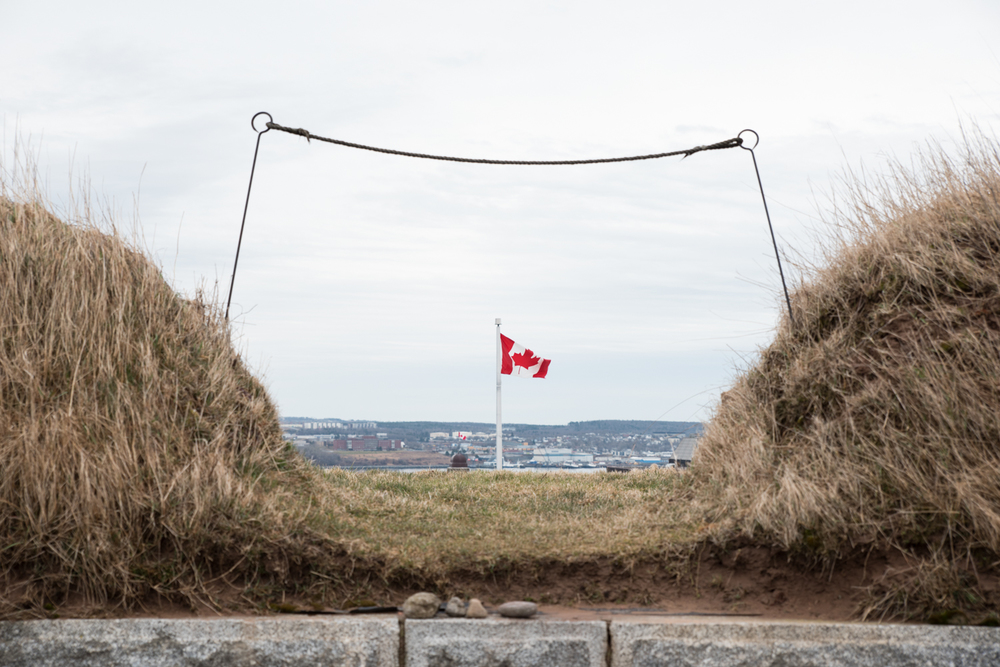 Canadian flag from the Citadel overlooking Halifax, Nova Scotia
