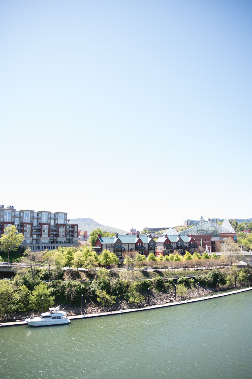 Tennessee riverfront from Walnut Street bridge in Chattanooga, Tennessee