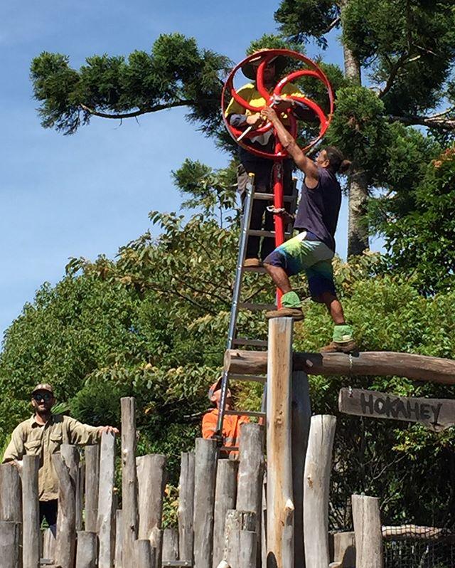 Installing the flagpole at Hokahey!