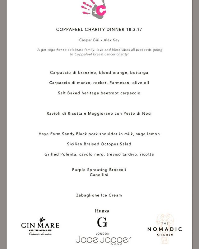 Really happy we to help Coppafeel make a little bit of money for a great cause,,, thanks for all the support @ridauk @chefcaspar @caskforit @jadejaggerjewellery @hunza.g a lovely evening xx