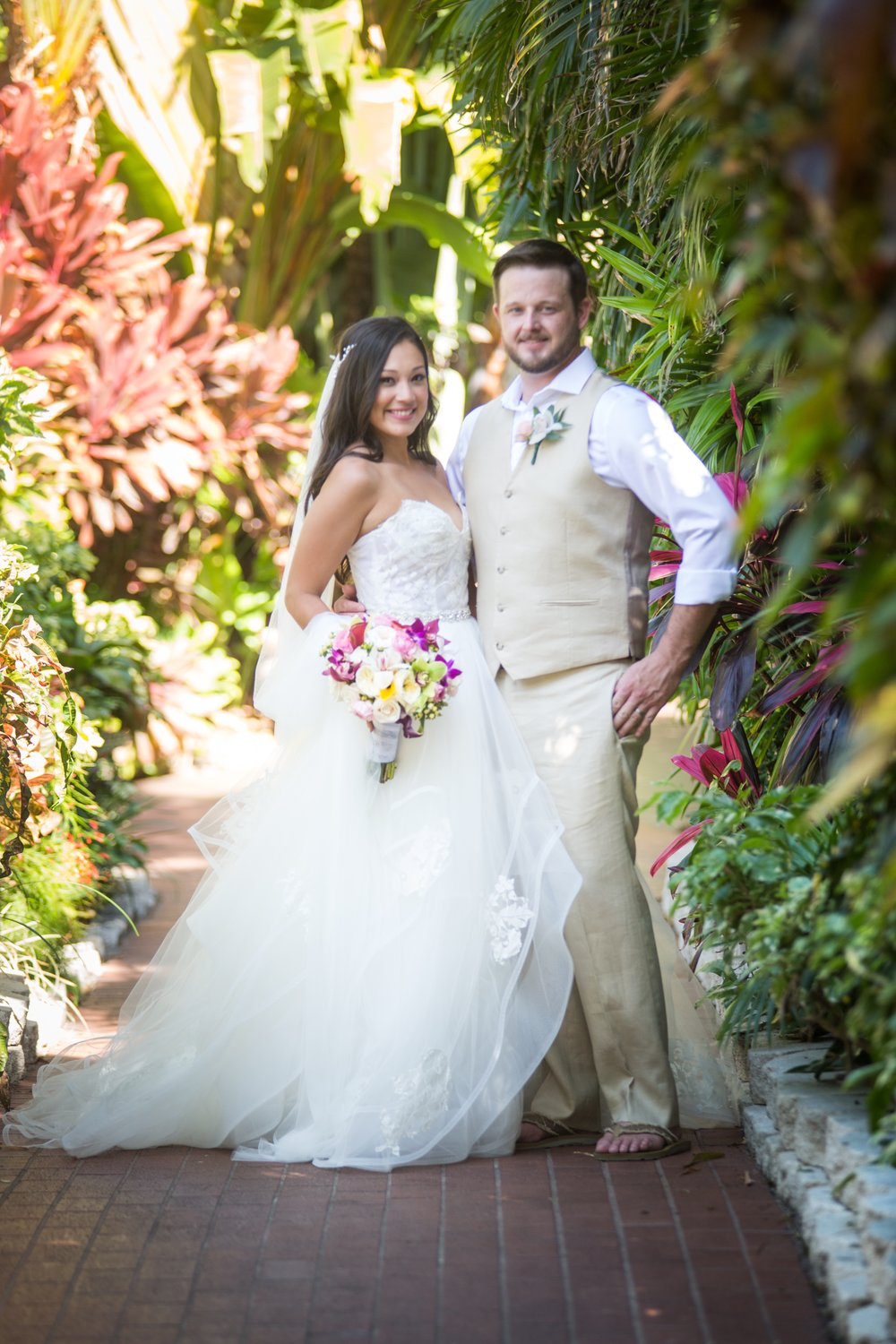 Couple on wedding day at pier house resort.JPG
