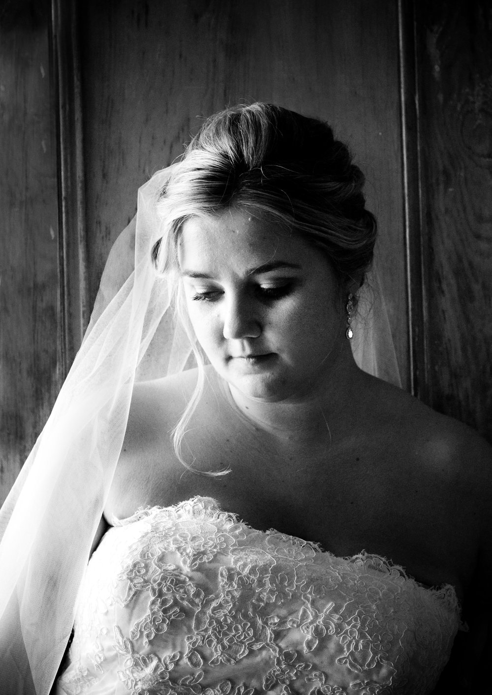 Classic Black & White Portrait of bride in soft window light. Taken at William Skelton House at Old Town Manor in Key West, Florida. © Karrie Porter