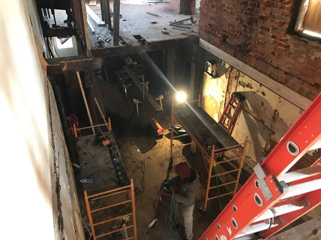 We started off the morning with the demolition of old an rotted framing members in order to make way for a new installation.