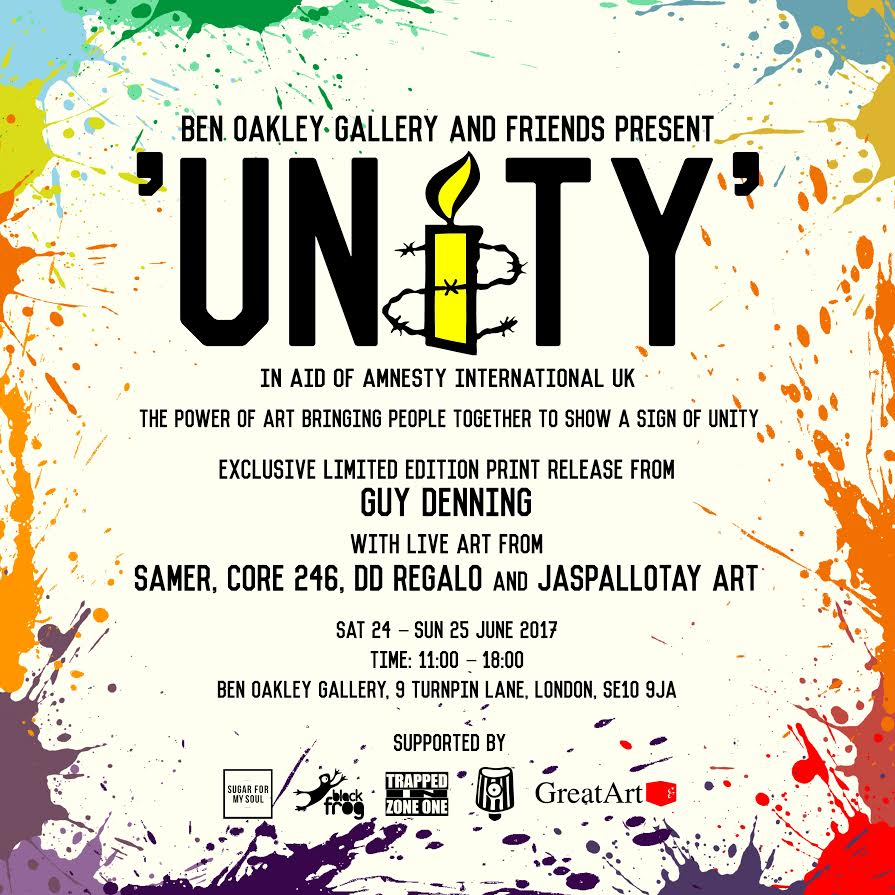'UNITY' // Ben Oakley Gallery x Amnesty UK x Trapped In Zone One - Dates: 24 - 25 June 2017Address: Ben Oakley Gallery, Greenwich Market, 9 Turnpin Ln, London SE10 9JABen Oakley Gallery in collaboration with Amnesty UK and Trapped In Zone One present UNITY: The Power of Art Bringing People Together // Sat/Sun 24th-25th June, 11am-6pm at Ben Oakley Gallery in Greenwich.The pop-up event and exhibition features a group show of artworks by British and international artists as well as live painting on both days (Dd Regalo painting live on Sat, 24th June 11am-6pm). There is also an exclusive limited edition print release by artist Guy Denning.This is really fun event for a great cause where all proceeds go to Amnesty UK. Come down and check out some amazing art and say hi as Dd paints live on the Saturday :)