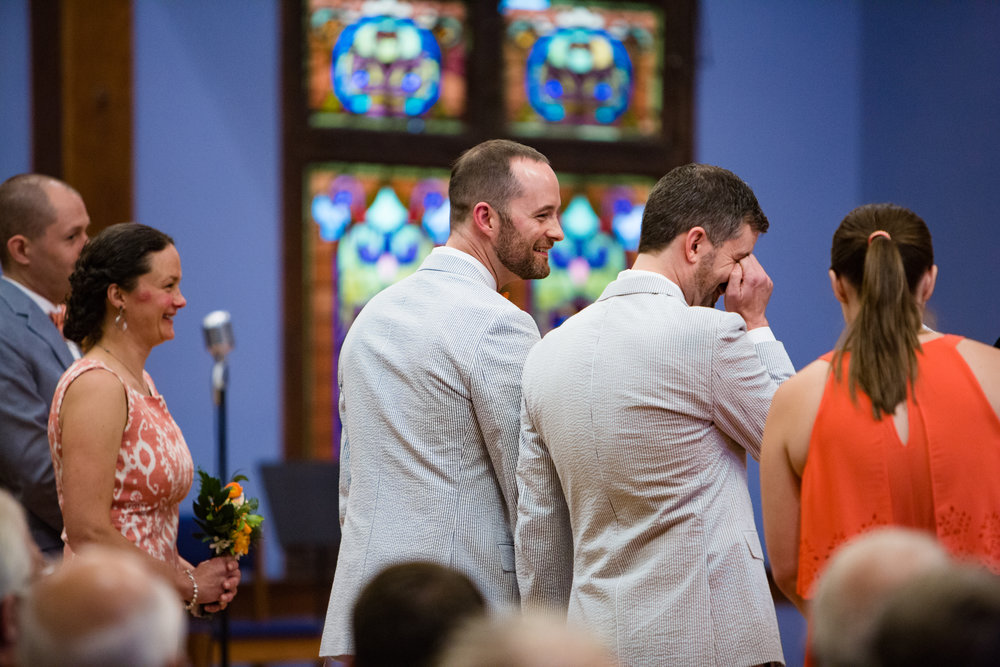 Brian and Toby during their wedding ceremony. Everyone in the house was crying!   Photo by  Jennifer Shaffer Photography .