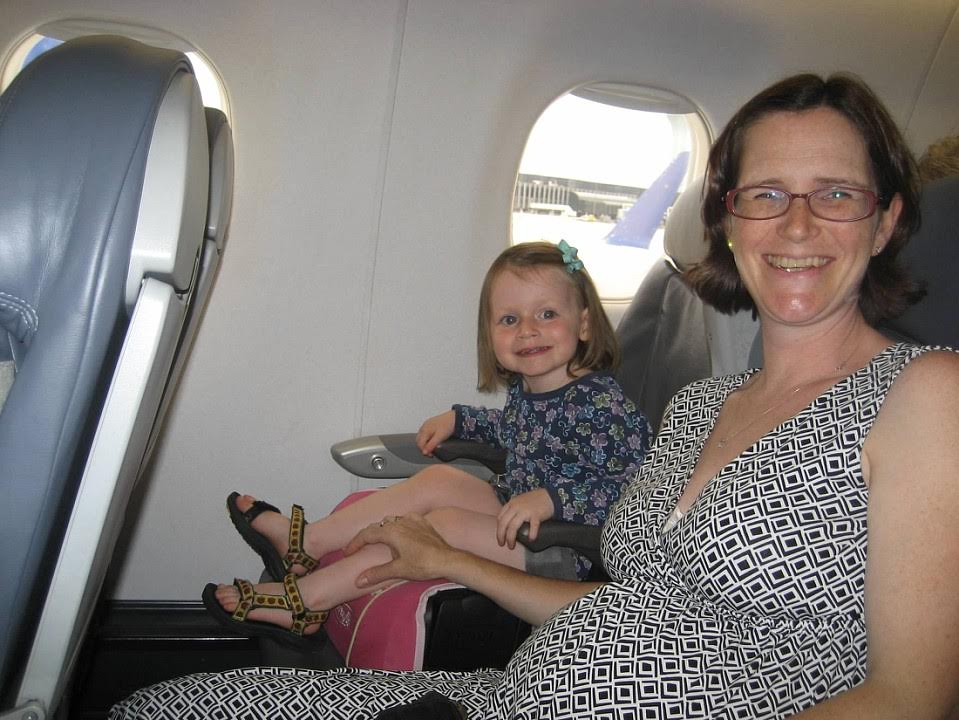 Karen with her youngest daughter, Sadie in August 2009 (just barely allowed to still fly!)
