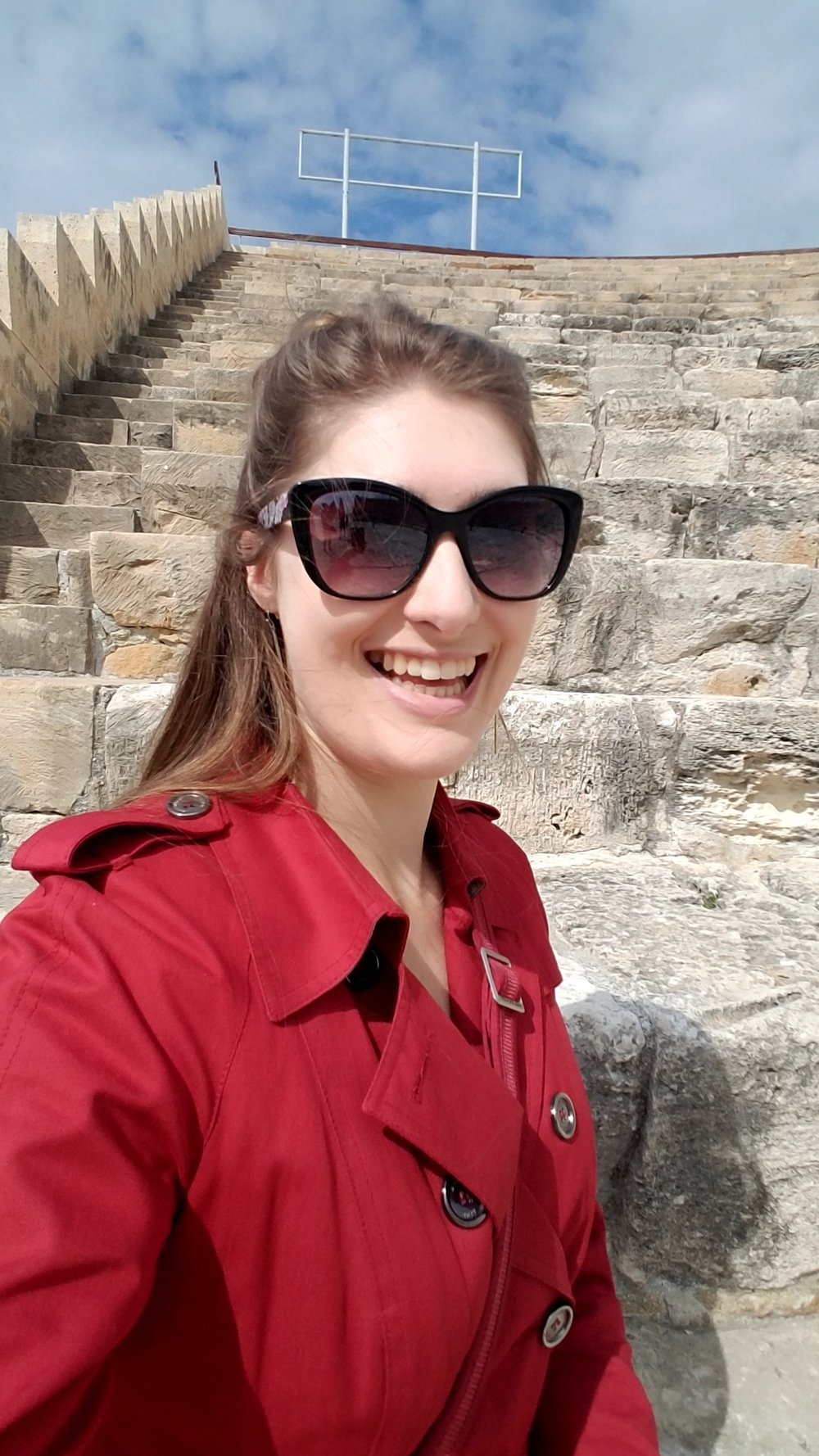 Morgaine takes a selfie at selfie at Kourion, Cyprus