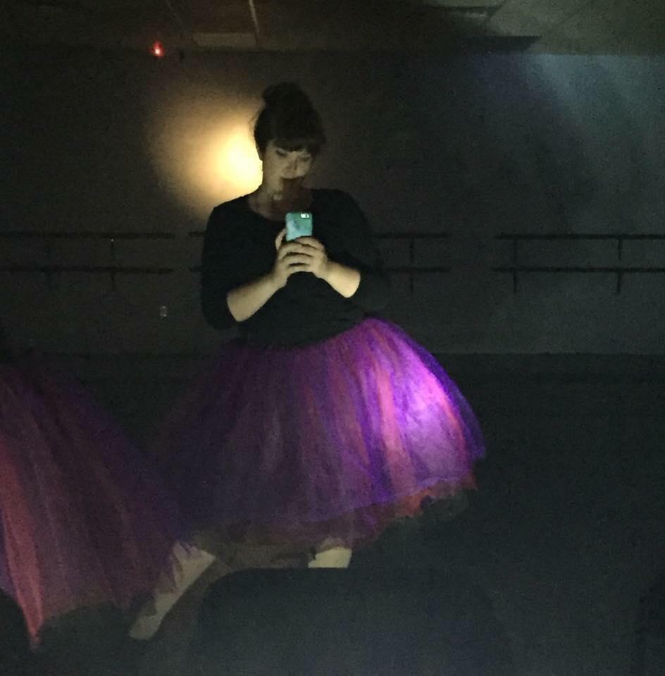Dana preparing for a dance recital.