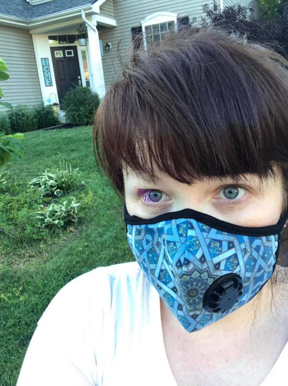 Dana wearing a mask to help her breathe.