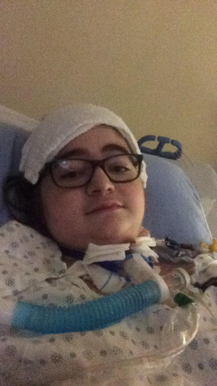 In the hospital post-transplant (late November 2016)