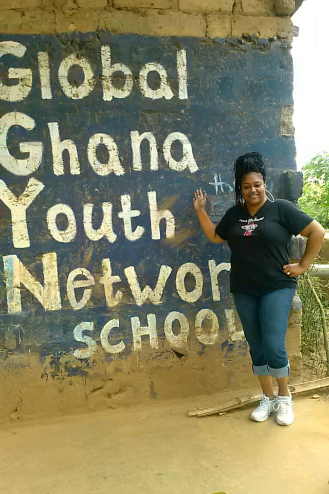 Kendra working in Nigerian school.