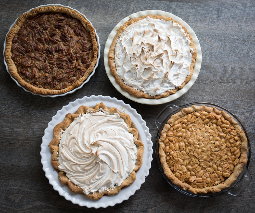 Clockwise From Upper Left: Pecan, Chocolate Meringue, Peanut, Lemon Meringue