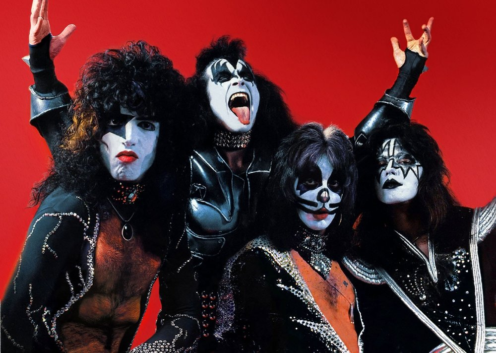 KISS (1977 members from left-right Paul Stanley, Gene Simmons, Peter Criss, Ace Frehley)