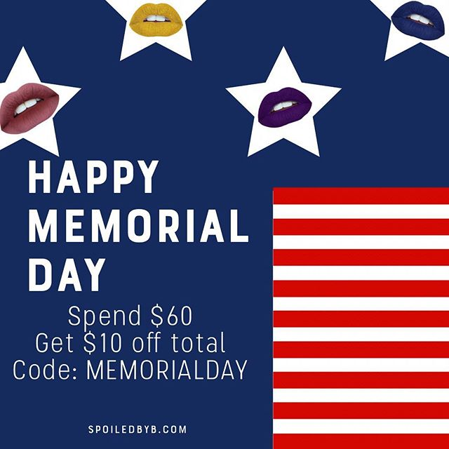 Happy Memorial Day! 🇺🇸 Spend $60 and get $10 off, that's a free lipstick 💄 #makeup#glam#beauty#mattelipstick#cosmetics