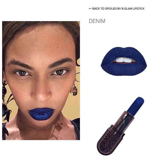 Get this Beyoncé inspired look with DENIM lipstick 👄 only from spoiledbyb.com #beyonce#bluelips#bluelipstick#spoiledbyb#glam#makeup#cosmetics