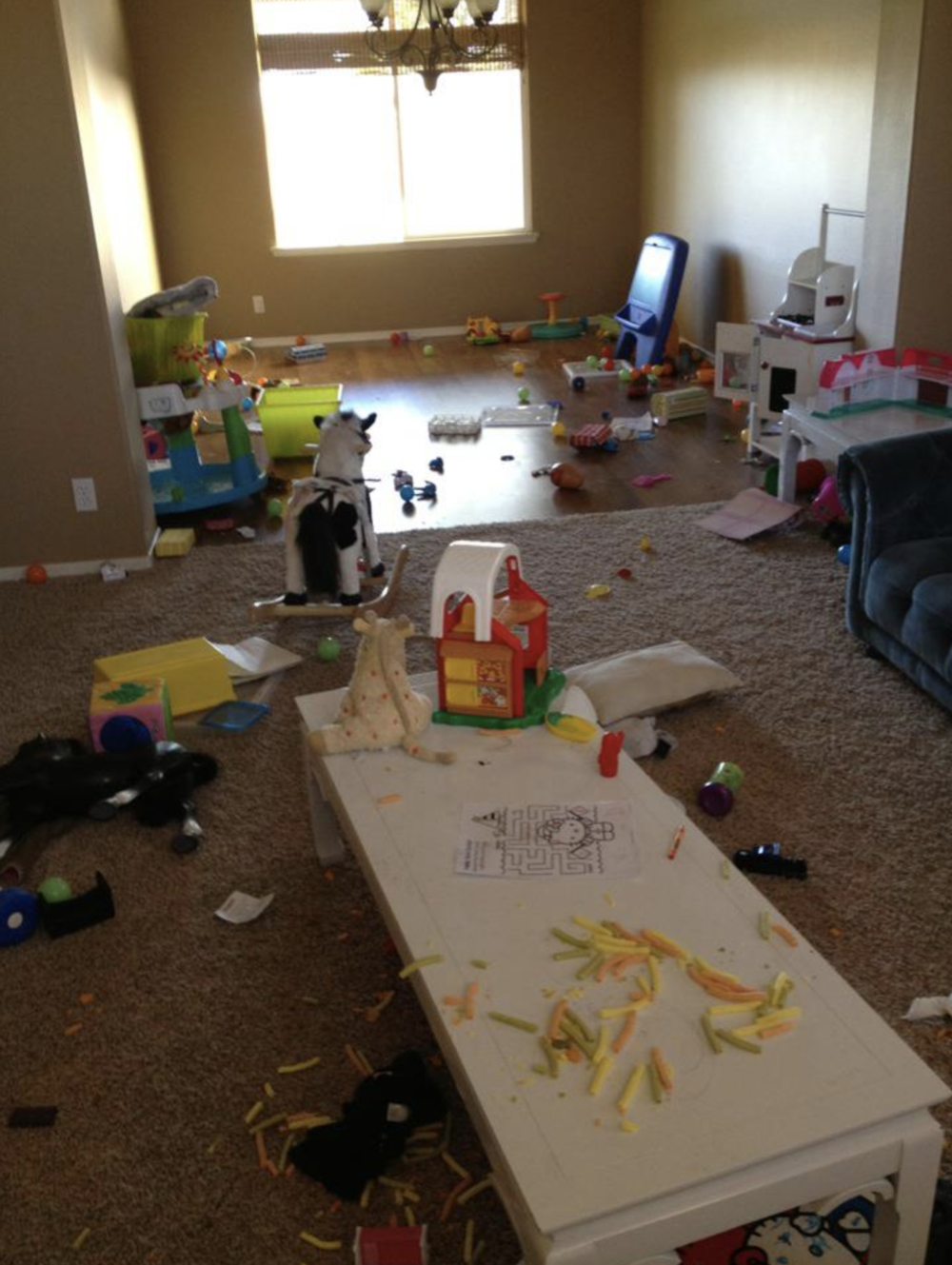 This is our actual playroom at the time. This is humbling...