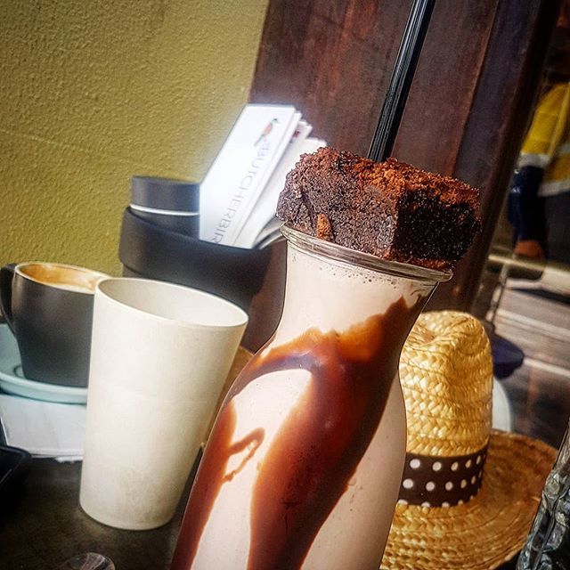 """Our """"Milo Ren"""" thickshake is available until Thursday only.  Milo thickshake topped with our famous homemade double chocolate brownie.  #butcherbirdcafe #milo #kyloren #starwars #thickshake #sweettreats"""