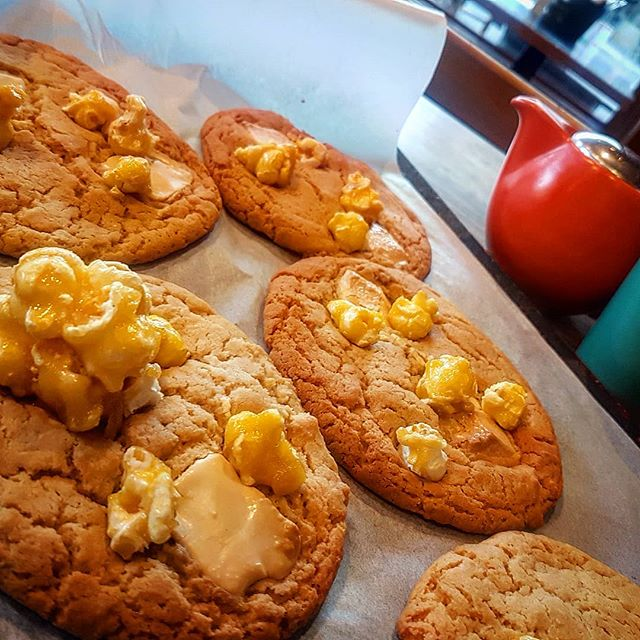 Happy Friday everyone.  Treat yourself to one of our caramel popcorn & white chocolate cookies fresh from the oven :) #butcherbirdcafe #sweettreats #bakedtreats #foodporn #fridays #popcorn