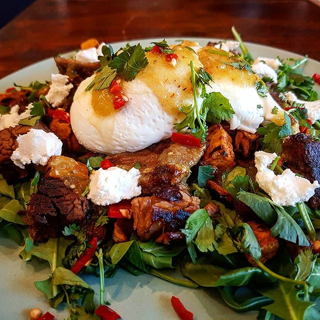 """This weekend only! """"HASH ME OUTSIDE""""  8 hour roasted beef tri tip & sweet potato hash with free range poached eggs, green tomato salsa verde, chilli, coriander & goat cheese.  #beef #specials #butcherbirdcafe #weekendeats #yum #mexican #tomatillo #petershamrestaurant #petershamcafe"""
