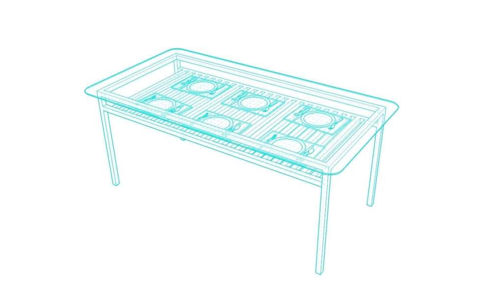 dining size - glass top - wood body / base
