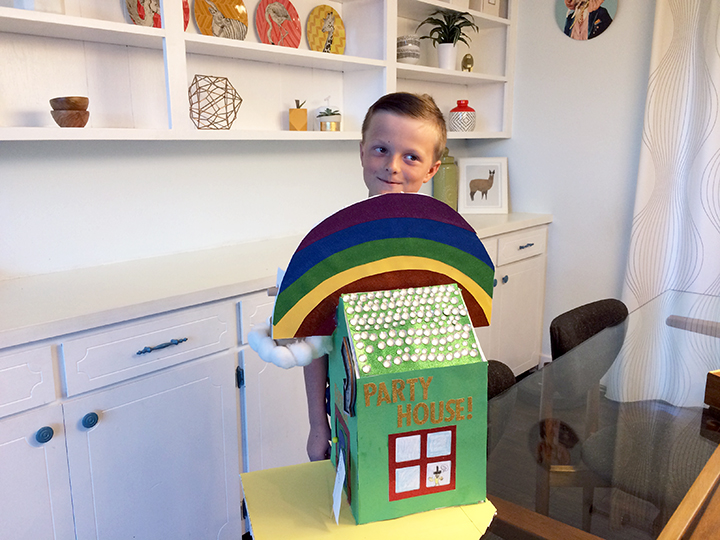 Jude with the completed leprechaun trap.