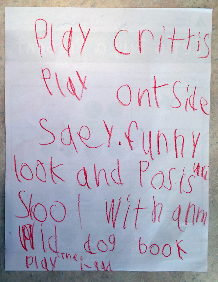 Abbey's Saturday to-do list she made with her friend Maliya.