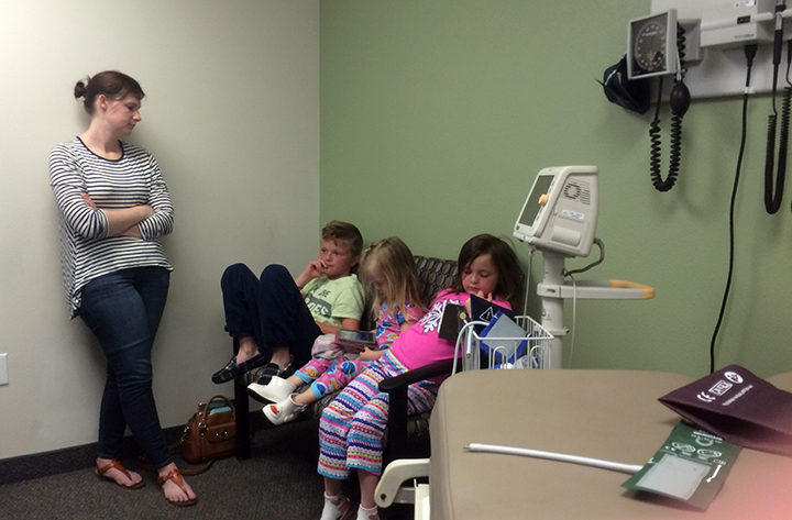 Shauna with Jude, Penny and Abbey waiting in the doctors office waiting to be seen.