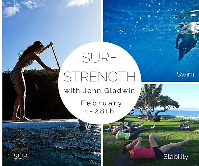 "We are doing a 4 week Surf Strength course again in Feb! You'll get to train 3 days a week with @jenngladwin - SUP, Swim and Stability training. .  From her IG: ""I don't offer these very often, but I'm stoked to be here all of Feb to get in the water & the office with a few people. These are my 3 passions and favorite things to coach so GET ON THIS TRAIN."" (These are typically 630 am sessions for my worker bees) Its $400 for the group sessions (so a little more than a typical yoga class per session- GEAR INCLUDED). We will also be hosting private sessions too! Sign up via email before Jan 30th! shttp://theofficemaui.com/surfstrength/"