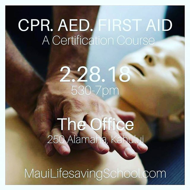 Come take our first CPR course with #mauilifesavingschool! You can sign up from the calendar on our website! This is a blended learning course, half online on your own time (2.5hr) and half in class (1.5hrs). #gladlife #cpronmaui