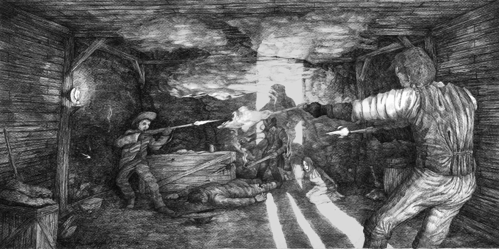 Concept drawing for  The Last Crossing  by Emersen Ziffle.