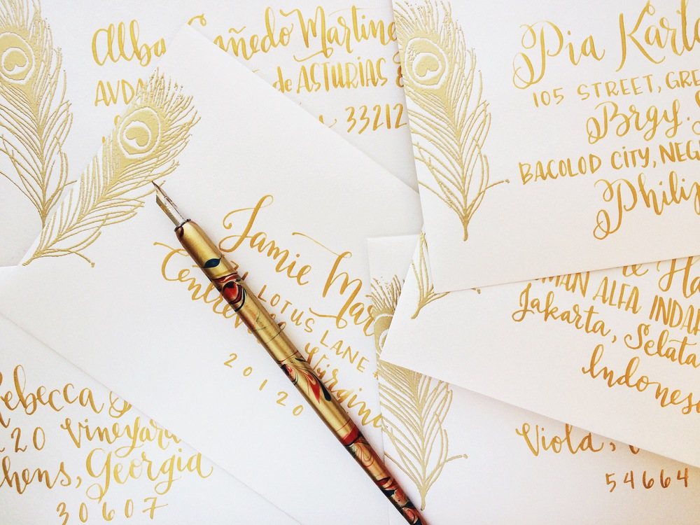 envelope addresses + lettering