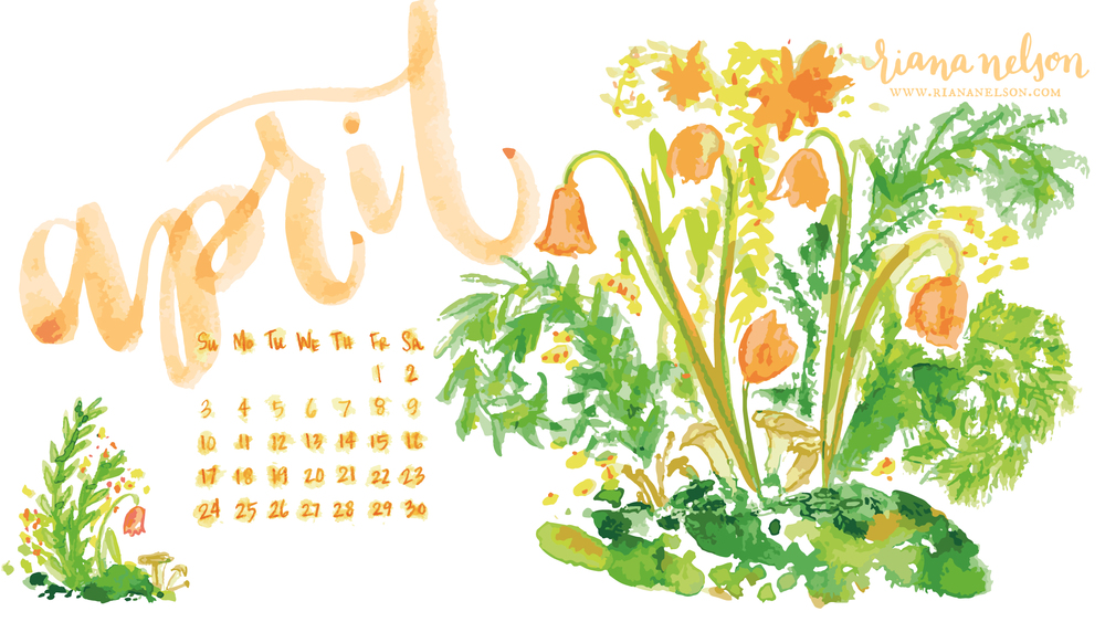 Warm coral bell-shaped blossoms, moss green fiddleheads, and tiny mushrooms complete this April floral-scape!