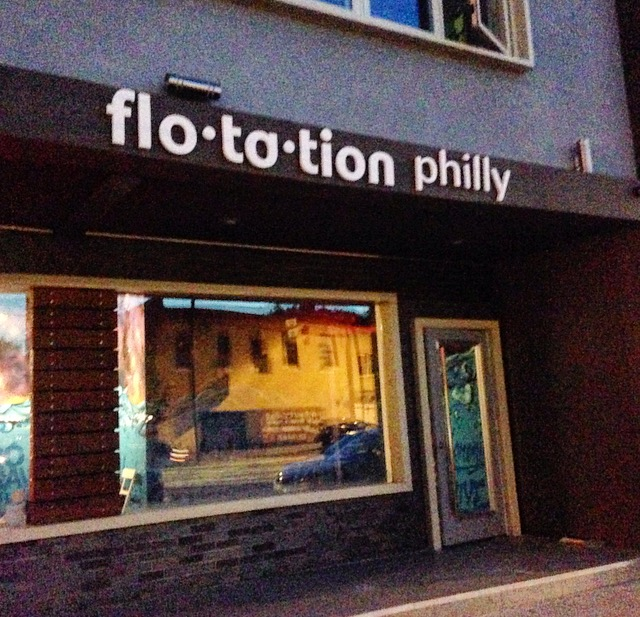 The outside of Floatation Philly on 534 E. Girard Ave! Our appointment was at 7pm!