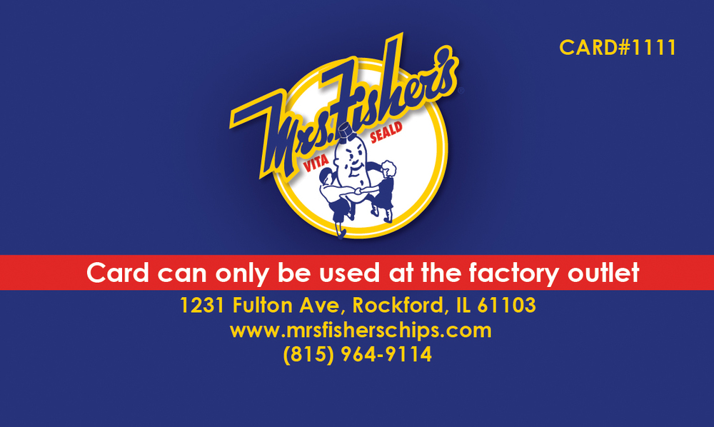 Mrs. Fisher's Chips Discount Card (Back)