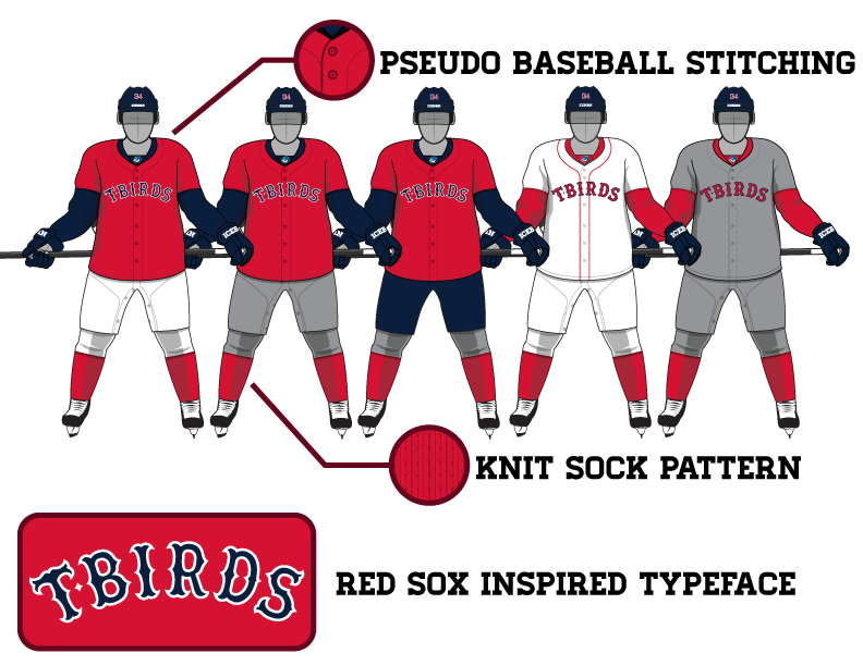 The Jerseys - I ended up coming up with about a dozen design for this particular night. I had variations using the Red Sox logo, Red Sox word mark, our 34 logo, the T-birds logo, the T-Birds Sox word mark (we ended up going with this for the jerseys). We also had planned on two distinct uniforms one for warm ups and one for the game. We ended up settling on a hybrid jersey combing the Thunderbirds, the current Sox home jersey and the 70's pull over jerseys.