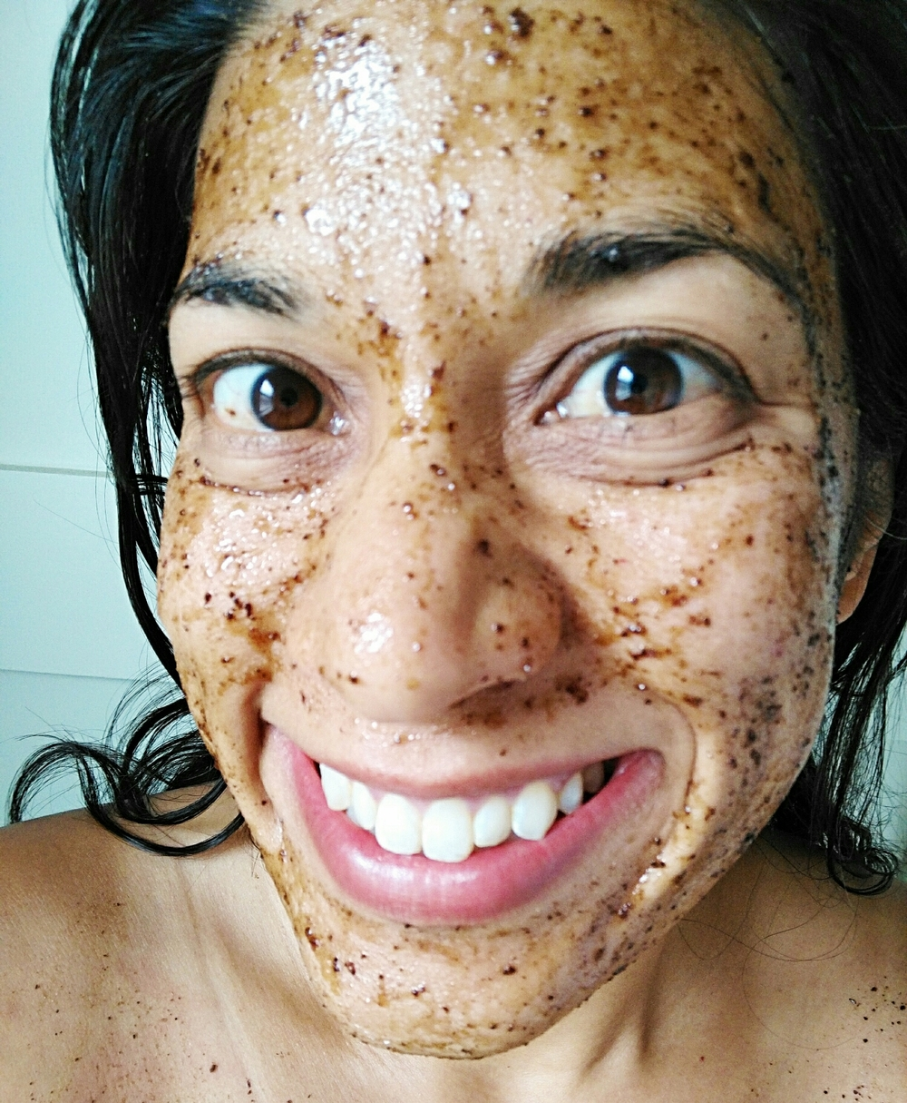 Honey and coffee grounds on my face. No, seriously, it's awesome.