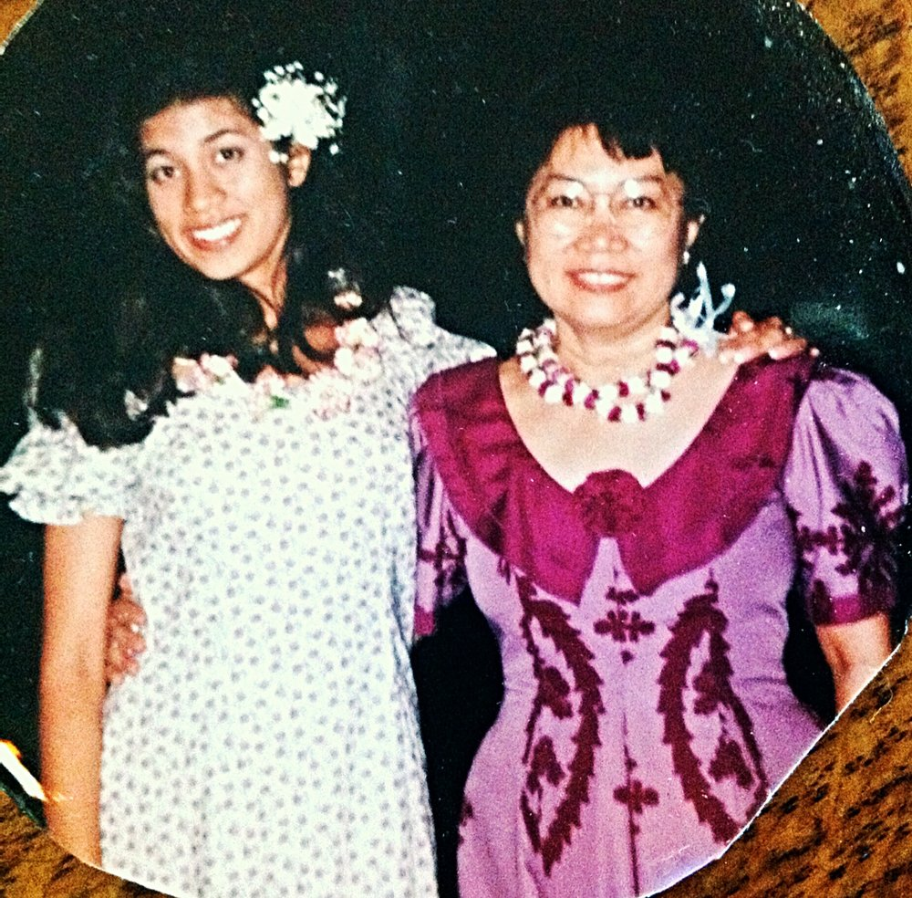 My mom and I in, I think, 1995, at a wedding in Honolulu. We liked to coordinate our outfits.