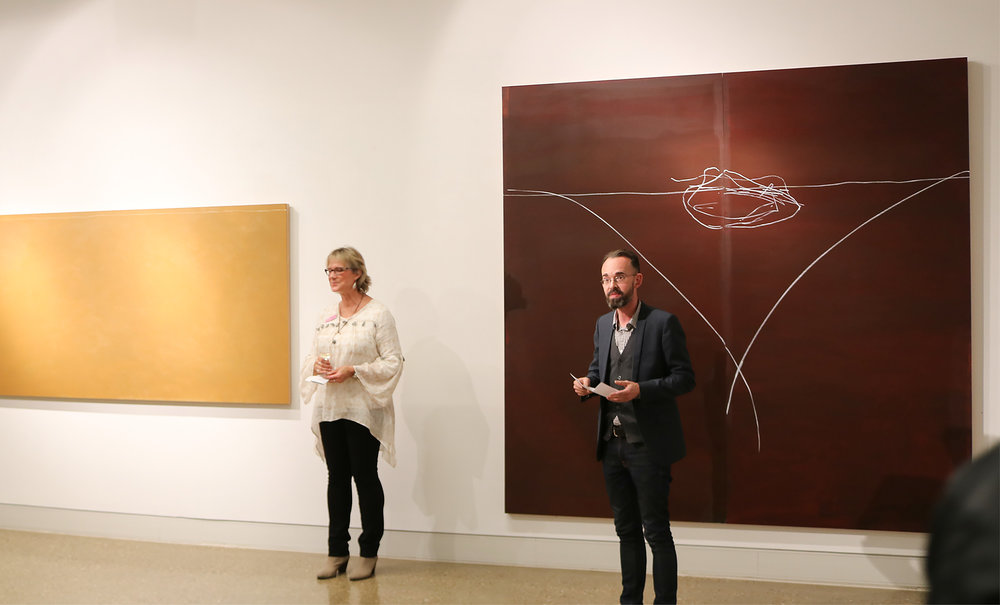 Karen Walsh, Gallery 43, and Stephen Payne, Wagga Wagga Art Gallery, opening the exhibition, 23rd May 2018