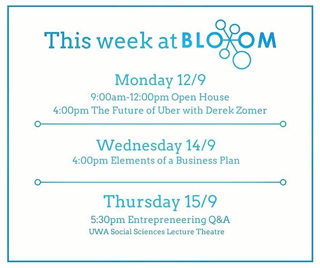 We're excited to announce BloomLab Open House! It's an opportunity for you to come in, work out of the Bloom lab and ask questions to find out how we can support you. Also, check out all the awesome, free events that are on this week😃