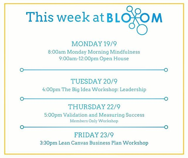 Thanks to the wonderful group of people who joined us for Monday Morning Mindfulness. If you're still wondering what it's like to work out of BloomLab, attend our Open House sessions every Monday. Also, check out all the great events on offer this week! 😃