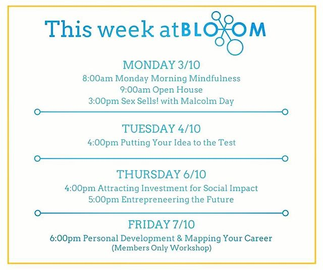 Join us at BloomLab for Monday Morning Mindfulness to kick start your routine post mid sem break! 💆If you're still wondering if Bloom is the right place for you, attend our Open House sessions every Monday at 9am. It's a great chance to work out of BloomLab, ask how we can support your ideas and find out about upcoming events 😃 For now, check out all the awesome events in line for #ThisWeekAtBloom ❤