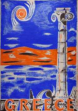 PHG3227 Nikos Hadjikyriakos-Ghika, Study for a poster, 1948, Tempera on cardboard, Benaki Museum – Ghika Gallery, Athens © Benaki Museum 2018