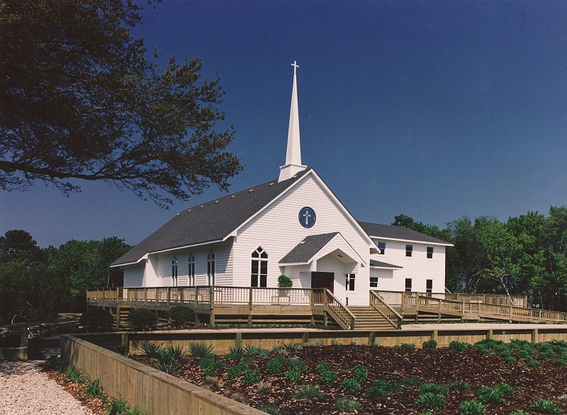 the simple duck united methodist church in duck, north carolina by greg frucci and build by david stormont.