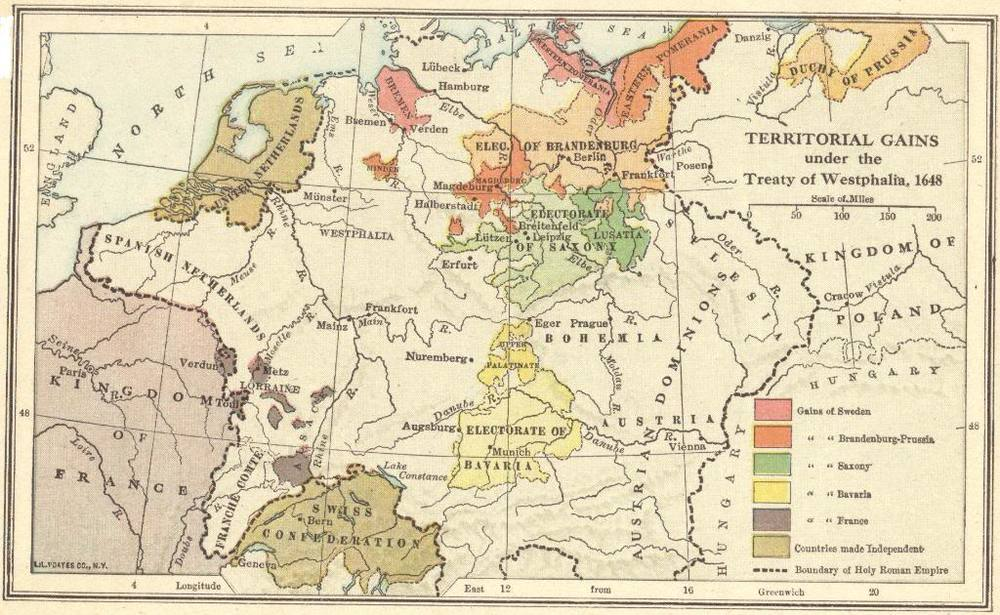 Map of territorial gains by sweden, brandeburg-prussia, saxony, bavaria, and france under the 1648 Treaty of Westphalia.   CREDIT: http://www.studenthandouts.com/Gallery/WH09/09.26-map-treaty-of-westphalia.htm.
